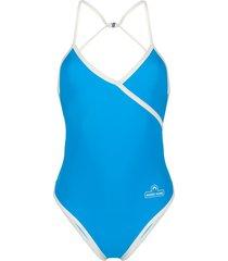 marine serre wrap style swimsuit - blue