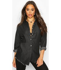 button front denim shirt, black