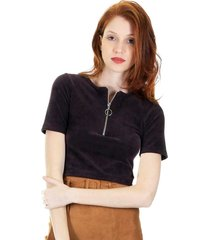blusa aha cropped veludo cotelê com manga curta e decote com zíper e argola marrom