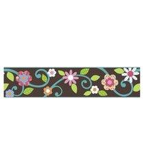 adesivos de parede roommates colorido scroll floral peel & stick border - brown e teal