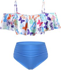 butterfly print flounce plus size off shoulder tankini swimwear