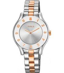 reloj errold bicolor de acero/ip rosa tous