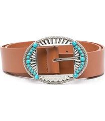 liu jo turquoise-detail belt - brown