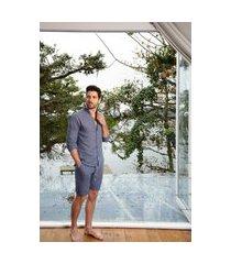 pijama masculino l'acqua linho curto m muguet home azul