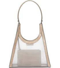 mesh rey' croc embossed leather trim pouch shoulder bag