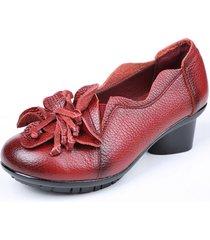 socofy scarpe a pompe di stile retro con fiore a metà tacco