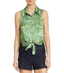 leon floral tie-front sleeveless blouse