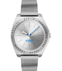 hugo men's #act stainless steel mesh bracelet watch 44mm