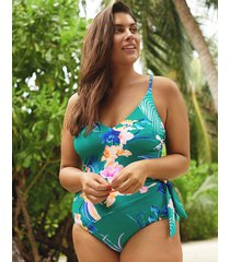 oriental jade floral wrap tie waist shaping one-piece swimsuit