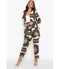 baroque print blazer en broek met riem set, black