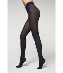 calzedonia 50 denier total comfort silky touch tights woman blue size 1/2
