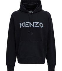 kenzo black cotton hoodie with logo print