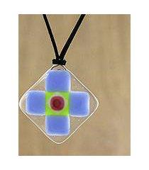 art glass pendant necklace, 'periwinkle cross' (thailand)