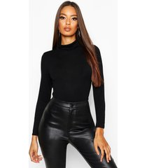 basic turtle neck long sleeve top, black