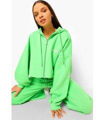 korte oversized hoodie met rits en tekst, green