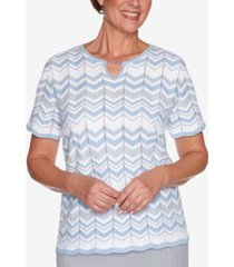 alfred dunner petite french bistro chevron-biadere sweater