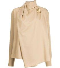 beige asymmetrical blouse