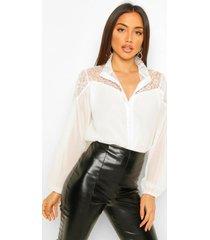 blouse met kant en hoge kraag, white