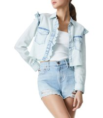 women's alice + olivia crop chambray shirt, size x-small - blue/green