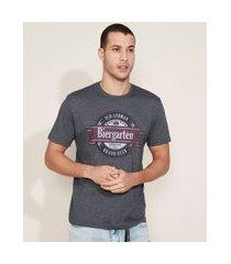 """camiseta masculina biergarten"""" manga curta gola careca cinza"""""""