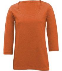 shirt met ronde hals voor haar, terracotta 44