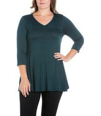 women's plus size three quarter sleeves v-neck tunic top