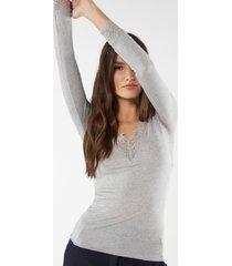 maglia lunga in modal cashmere ultralight e pizzo