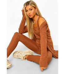 tall driedelige geribbeld hemdje, leggings & cardigan set, chocolate