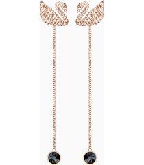orecchini swarovski iconic swan, marrone, placcato oro rosa