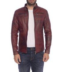 chaqueta de cuero rojo contrastado topa