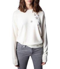 women's zadig & voltaire gaby strass stars wool & cashmere sweater, size medium - white