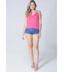 blusa regata dalia decote v tricot feminino pink