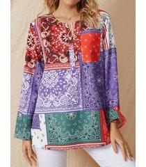 camicetta casual da donna a maniche lunghe con bottoni vintage stampa etnica