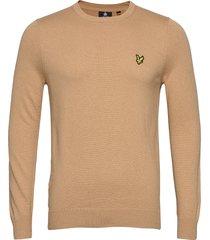 cotton merino crew jumper gebreide trui met ronde kraag beige lyle & scott