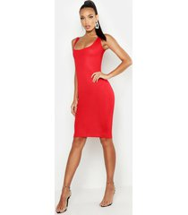 basic square neck bodycon midi dress, red