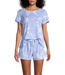 kensie women's 2-piece tie-dye pajama set - pink - size s