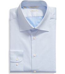 men's suitsupply traditional slim fit button-up dress shirt, size 18 - blue