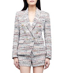 l'agence women's kenzie tweed double-breasted blazer - orange blue - size 0