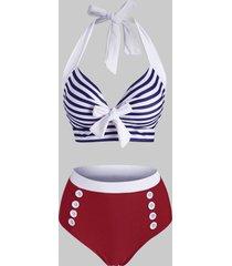 striped mock button tied halter tankini swimwear