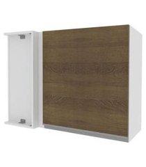 armário aéreo de canto madesa acordes glamy 100% mdf 1 porta branco/rustic