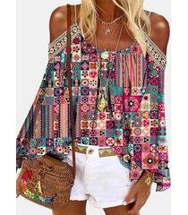 camicetta a maniche lunghe con spalle scoperte stampa boema per donna