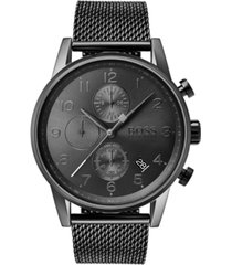 boss men's chronograph navigator gray stainless steel mesh bracelet watch 44mm
