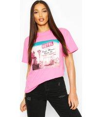 lange t-shirt met retro graphic, roze