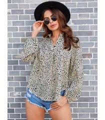 yoins blusa de gasa de leopardo aleatorio caqui