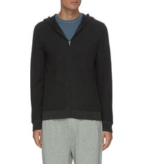 zip up cotton cashmere blend thermal hoodie