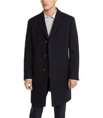kenneth cole reaction men's raburn slim-fit navy blue textured overcoat