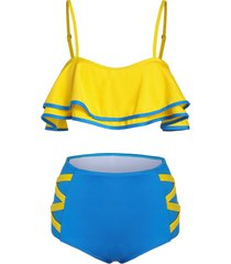 contrast color high waisted tankini swimwear