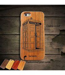 doctor who tardis wooden wood customize phone case cover fit iphone 6/6s plus/5s
