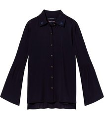 donkerblauwe dames blouse met volant mouw maison scotch - 141409