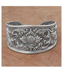 sterling silver cuff bracelet, 'courageous soul' (indonesia)